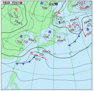 2月25日(日)15時の実況天気図