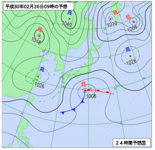 2月26日(月)9時の予想天気図