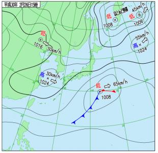 2月26日(月)15時の実況天気図