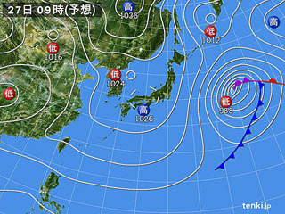 2月27日(火)9時の予想天気図