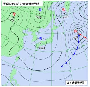 2月27(火)9時の予想天気図