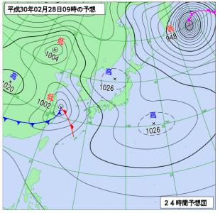 2月28日(水)9時の予想天気図