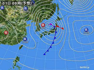 3月1日(木)9時の予想天気図
