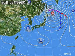3月2日(金)9時の予想天気図