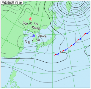 12月2日(土)6時の実況天気図