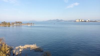 琵琶湖大橋西詰めから眺めた南湖(12月3日15時頃)