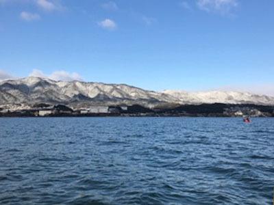 雪景色の琵琶湖