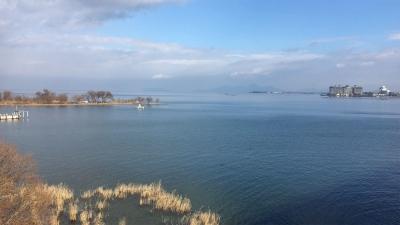 琵琶湖大橋西詰めから眺めた北湖(1月6日13時15分頃)