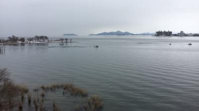 琵琶湖大橋西詰めから眺めた北湖(1月28日13時30分頃)