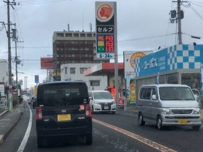 レギュラーガソリン143円/L 西近江路沿い大津市南部のセルフGSで(18/02/08)