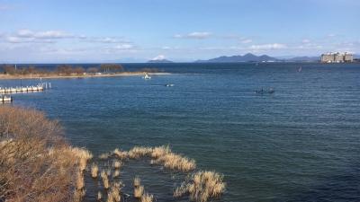 琵琶湖大橋西詰めから眺めた北湖(2月18日14時00分頃)