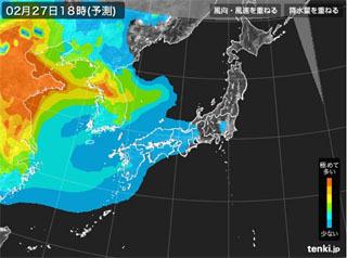 tenki.jp PM2.5分布予測(2月27日18時)