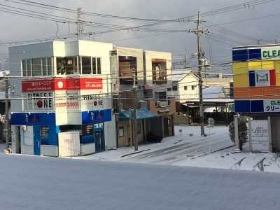 雪景色の今堅田
