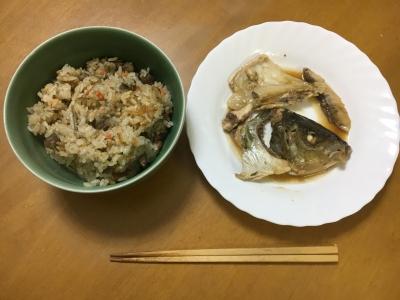 シマアジのアラ煮と猪飯