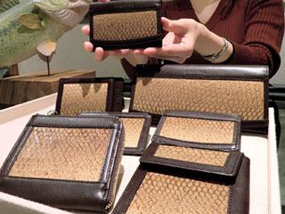 琵琶湖産バスの皮を使った小物製品