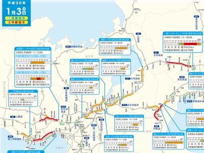 1月3日(水)の琵琶湖周辺渋滞予測
