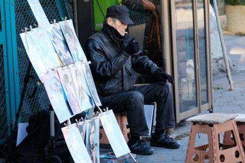 02上野公園階段下の似顔絵描きさん