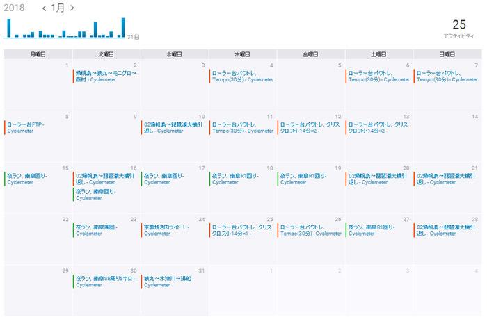 201801カレンダー