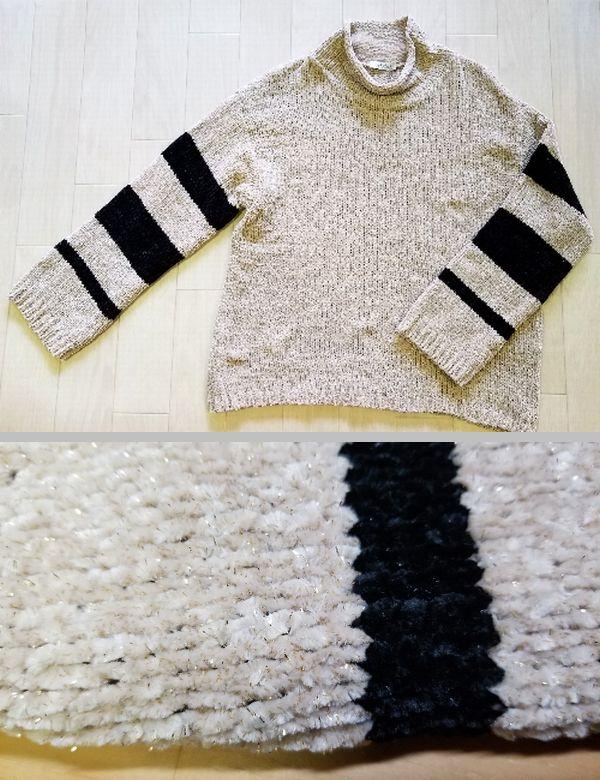 ラメモールニット袖丈2