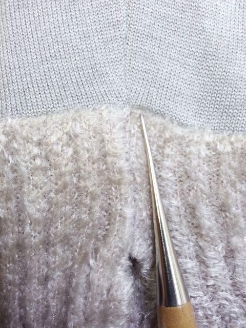 copカフスモールニット襟ぐり袖丈12