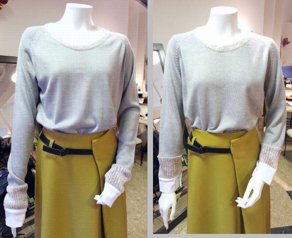 copカフスモールニット襟ぐり袖丈20
