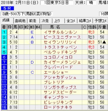 180211東京5R結果