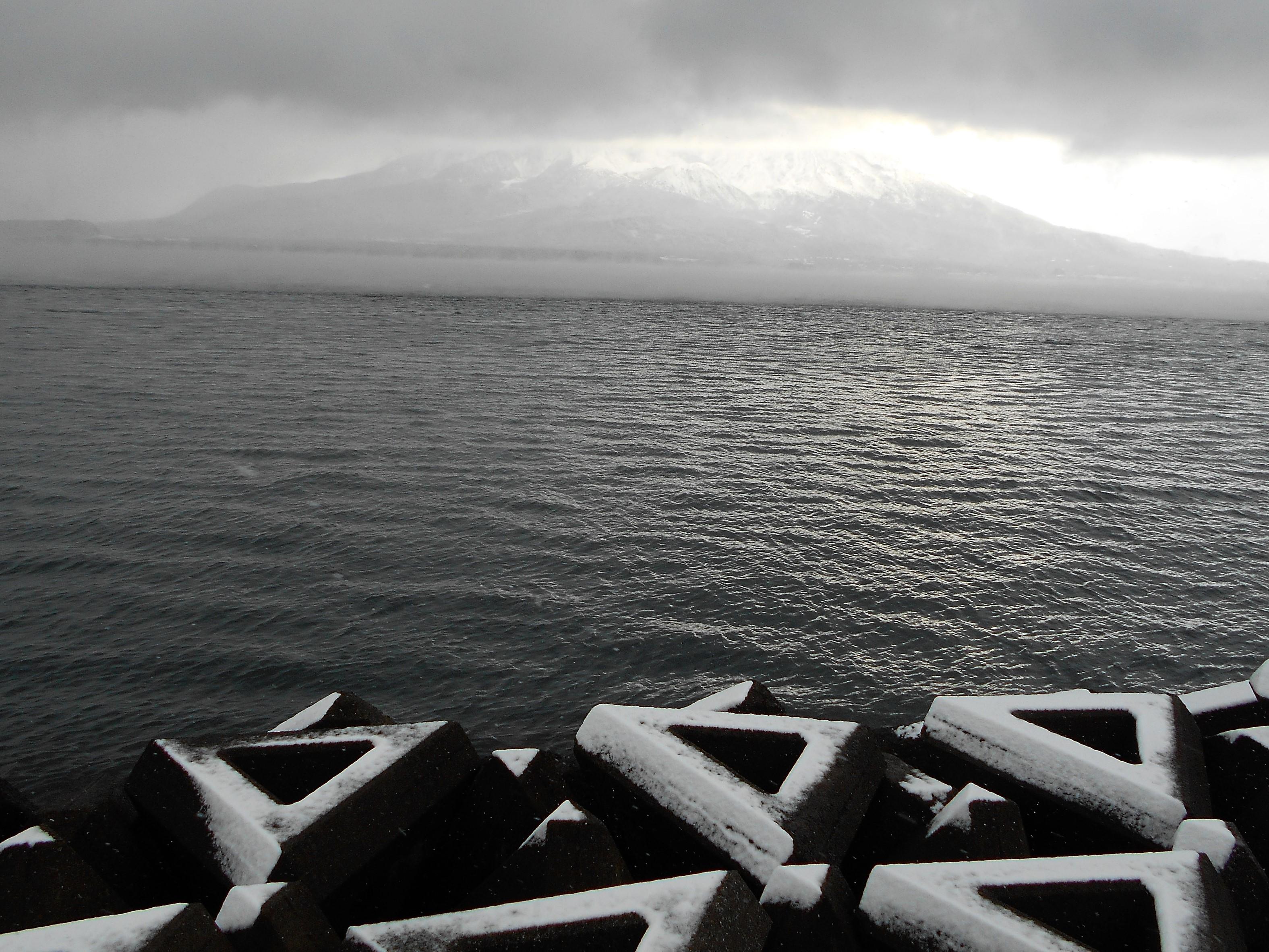 雪をかぶる波消しブロックと桜島