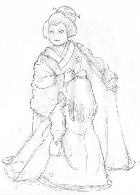 歌舞伎  イラスト  伽羅先代萩
