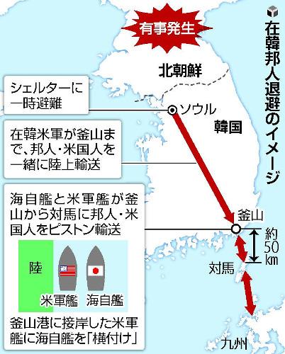 【朝鮮半島有事】九州に順次ピストン輸送、邦人・米国人ら対馬に一時退避!