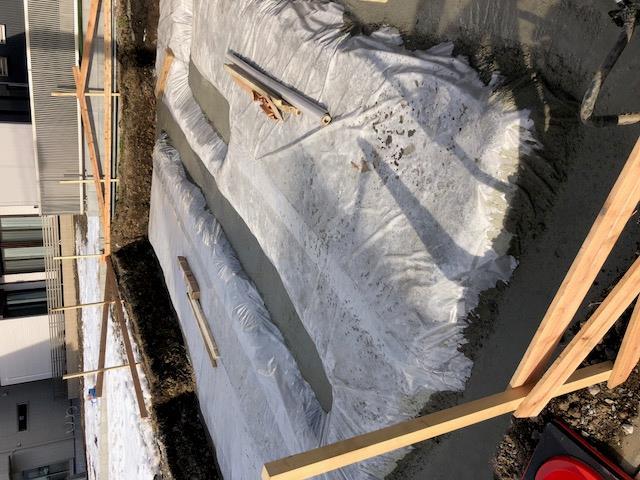 埼玉県 川口市 鳩ケ谷 木造3階建 モダン狭小住宅 地業 捨てコンクリート