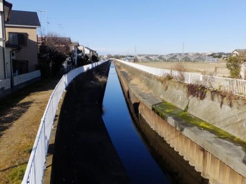 谷間橋上流の直線化した鳩川