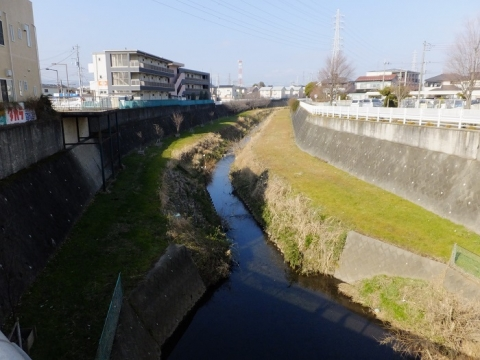 下中丸橋より鳩川上流を望む