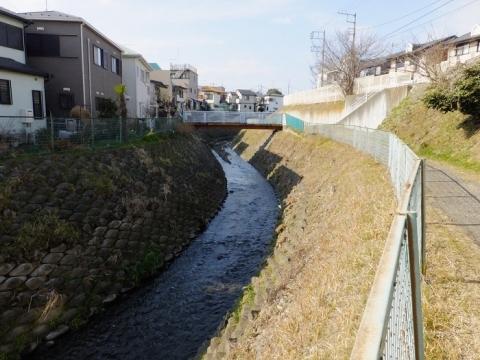 八幡橋より鳩川上流を望む