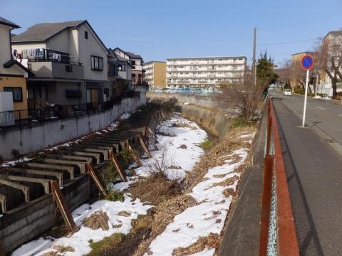 西内出橋上流の鳩川と調節池