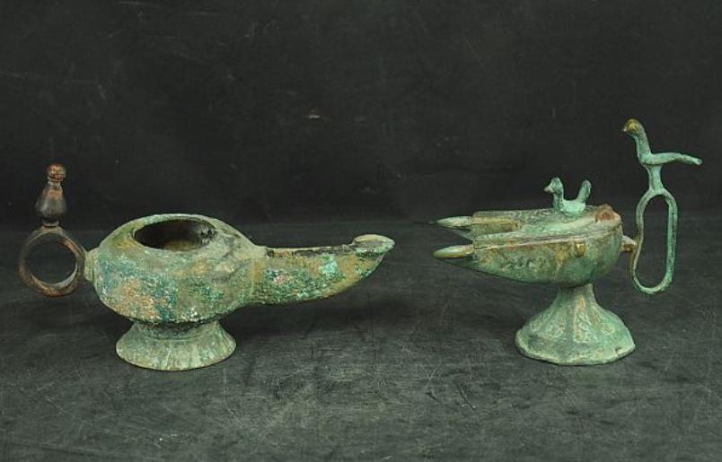 zzz sedou 漢時代 青銅器 酒器 2点 唐物発掘品 w20 h12cm
