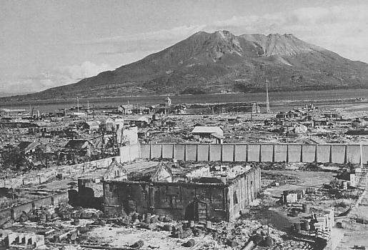 Kagoshima, Japan after American aerial bombing, 1945
