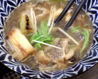 綿麺 フライデーナイト Part142 (18/1/12) 焼きネギとしめじのかすつけ麺(つけ汁のアップ)