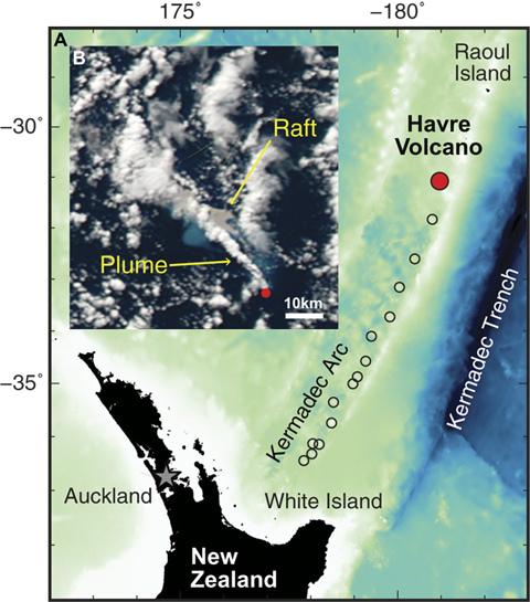 ハブアー火山とNASA・MODIS衛星画像の位置図(Science Advances 2018年1月10日)