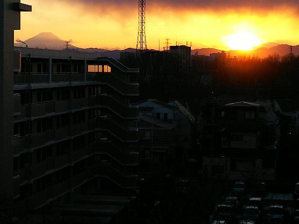 富士と夕陽と