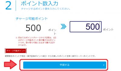 楽天ポイント→楽天Edyへの交換 ポイント数入力