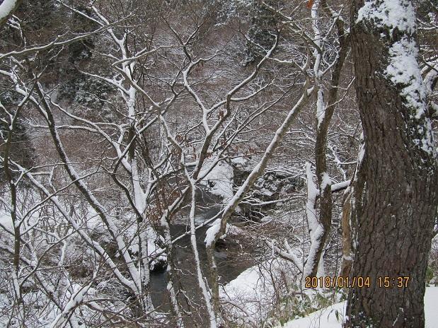 川に積もる雪