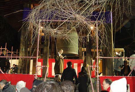 大晦日、増上寺の除夜の鐘を突きに
