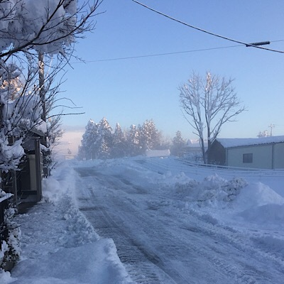 朝靄の雪景色