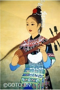 日本画「トン族琵琶歌~チャンファメイ」