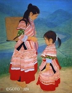 日本画「Beautiful village - 美しき村 -(ベトナム)」