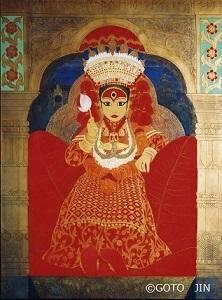 日本画「クマリ-The Living Goddess-(ネパール)」