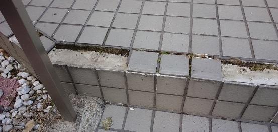 階段タイルの補修01