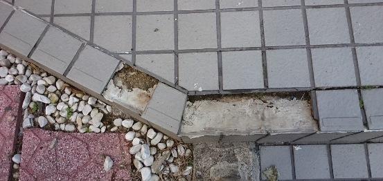 階段タイルの補修02