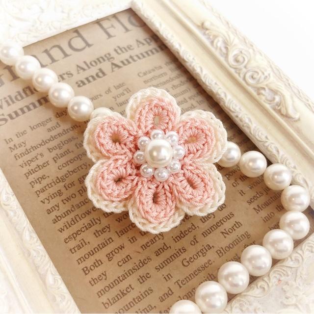 手編み雑貨 HanahanD 花モチーフ ヘアゴム、ヘアピン、ブローチ