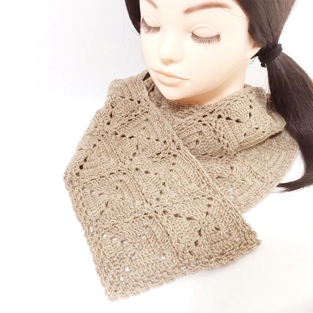 手編み雑貨 HanahanD 薄手 手編みマフラー 冬から春